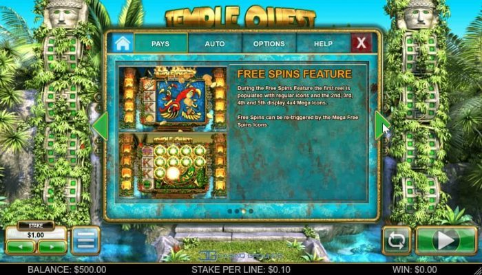 Image showing the Free spins feature in Templequest spinfinity from BTG