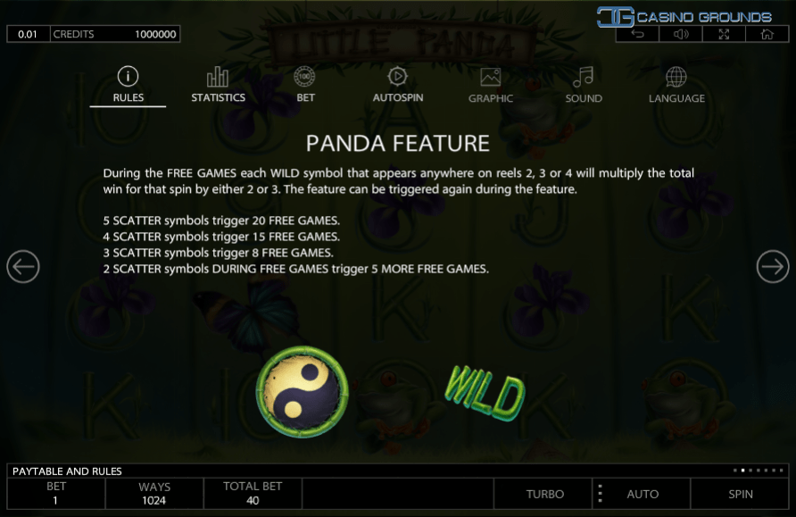 The Panda Feature in Little Panda add some spice to your free-spins.
