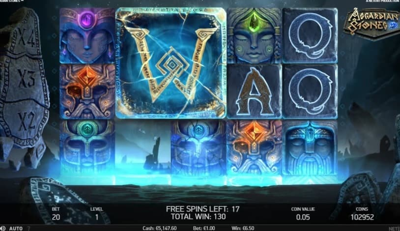Asgardian Stones slot free spins bonus wheel