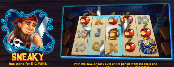Sneaky Snow wild and the seven features casinogroundsdotcom