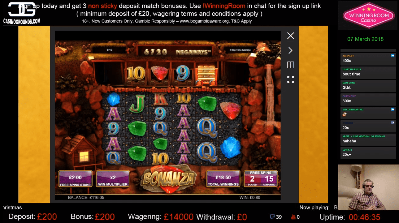 Image showing twitch user Slotplayer playing Bonanza