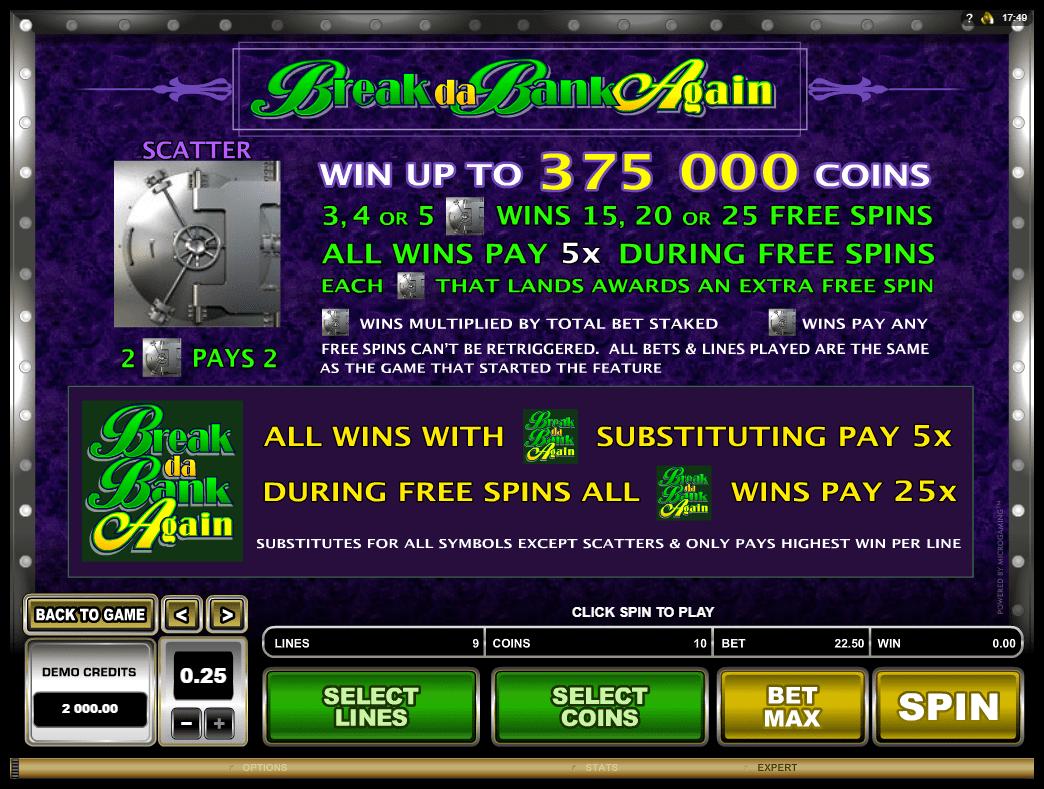 Microgaming - Break Da Bank Again - Rules - Wins Special Symbol - Casinogroundsdotcom