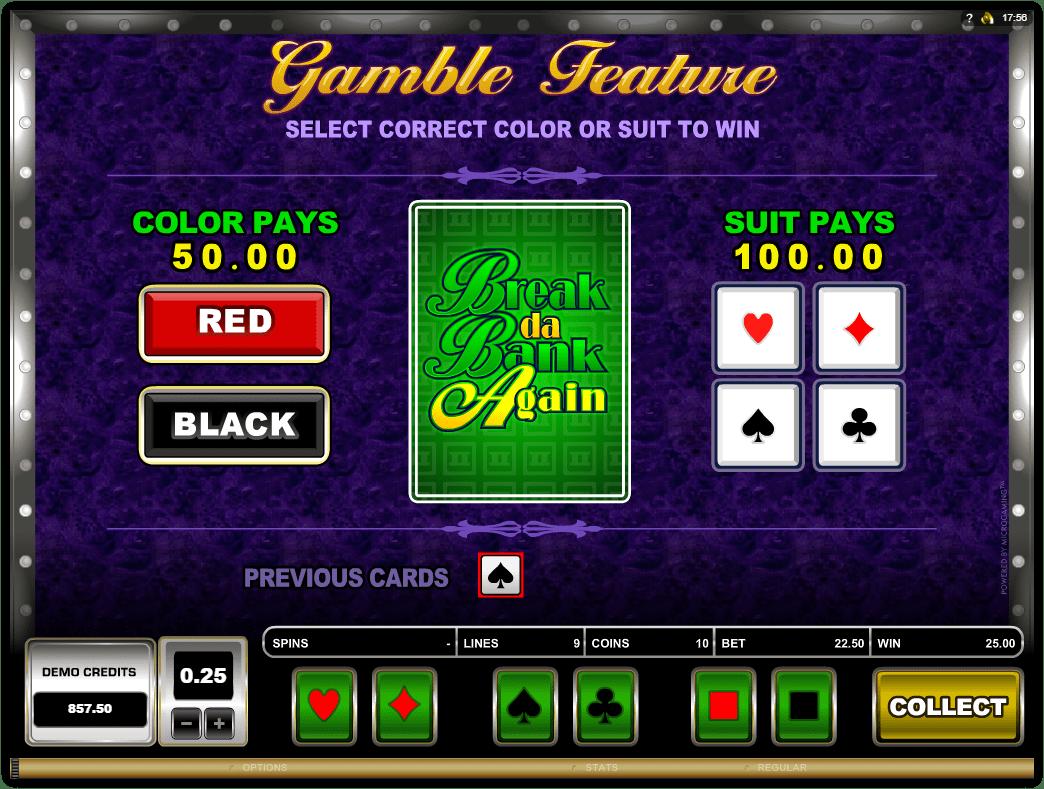 Microgaming - Break Da Bank Again -Gamble Feature - Casinogroundsdotcom