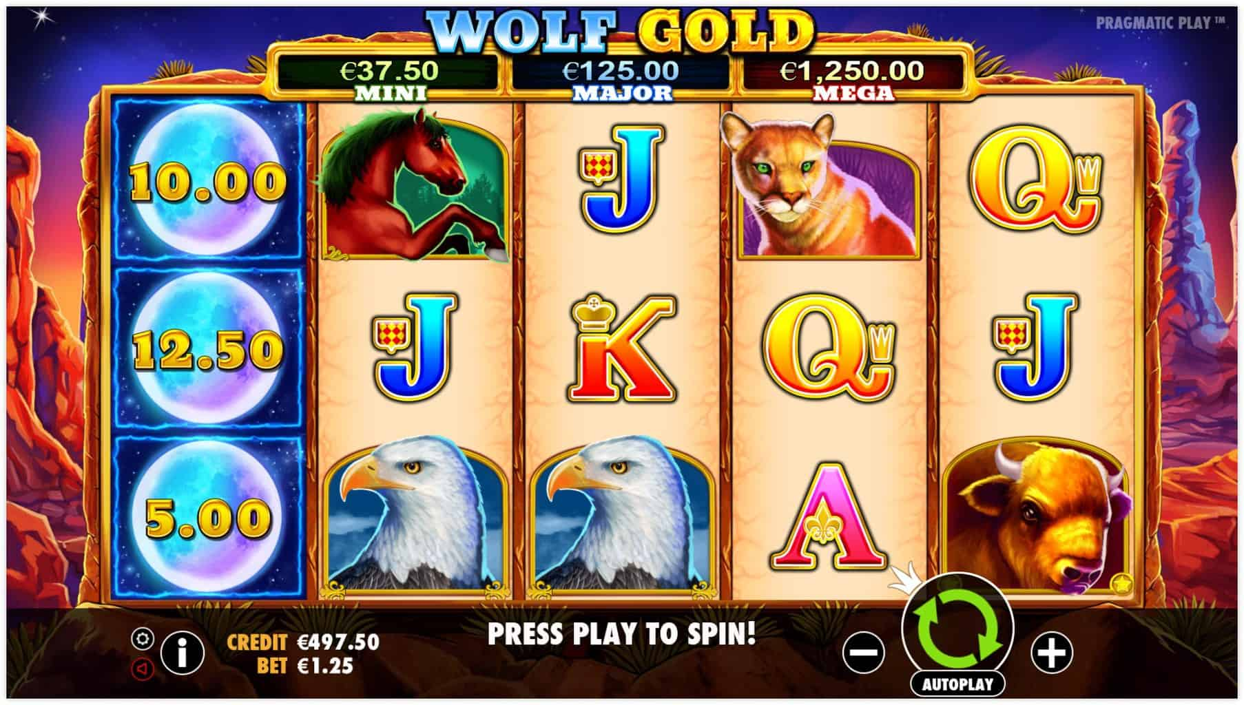 pragmatic play - wolf gold - Reels - casinogroundsdotcom