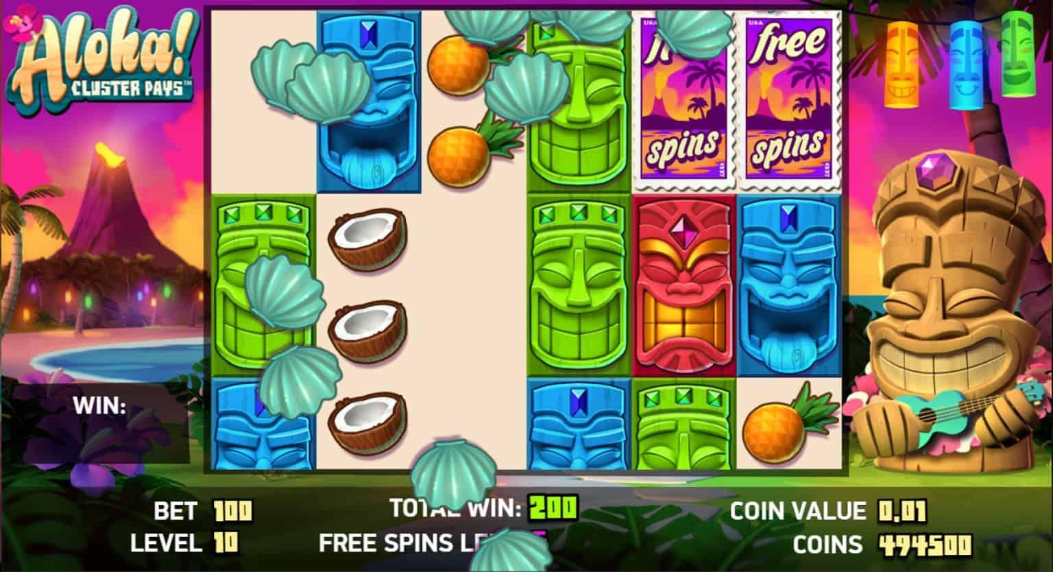netent - aloha cluster pays - free spins symbol removal- casinogroundsdotcom