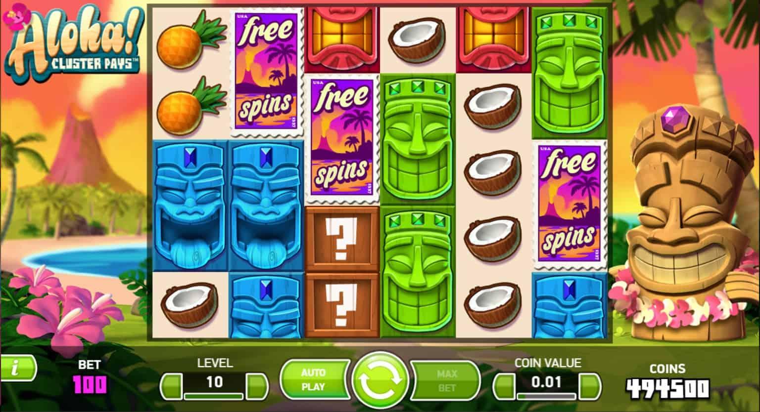 netent - aloha cluster pays - free spins base - casinogroundsdotcom
