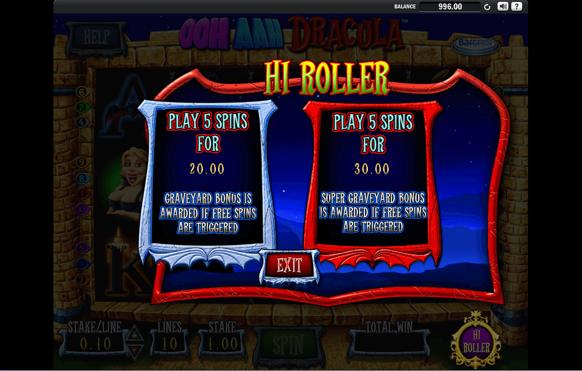Barcrest - Ooh Aah Dracula - Hi Roller - casinogroundsdotcom