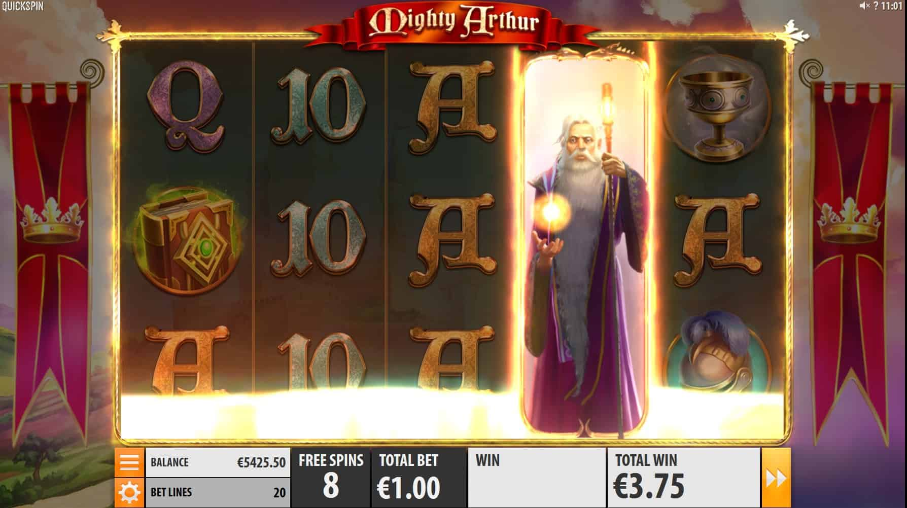 quickspin - mighty arthur- free spins - casinogroundsdotcom