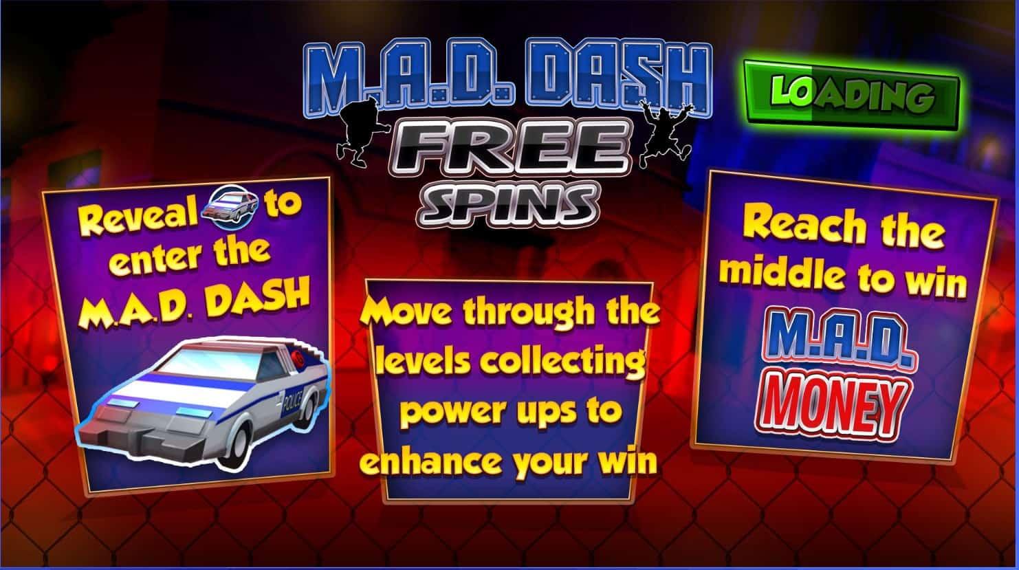 Blue print - inspector gadget - M.A.D Dash Free Spins- casinogroundsdotcom
