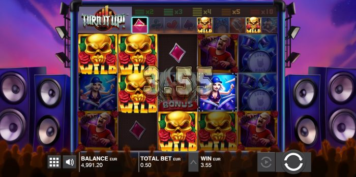 Push Gaming - Turn it up - Reels - Wilds - casinogroundsdotcom