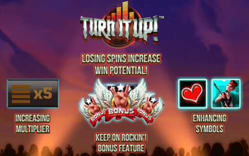 Push Gaming - Turn it up - Welcome Screen - casinogroundsdotcom
