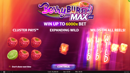 Netent - Berryburst MAX - Welcome Screen - casinogroundsdotcom