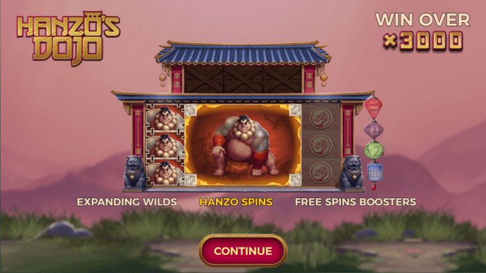 Yggdrasil - Hanzos Dojo - Welcome Screen - Hanzo Spins - Casinogroundsdotcom