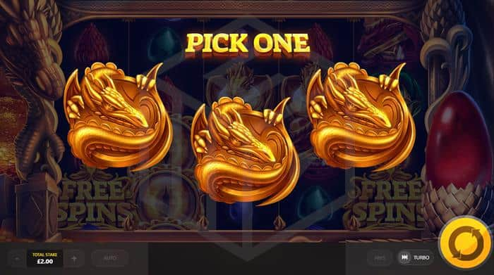 Dragons Fire Red Tiger Review: Image showing free-spins bonus picker