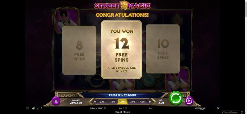 Playngo - street magic image shows the bonus prize for free spins