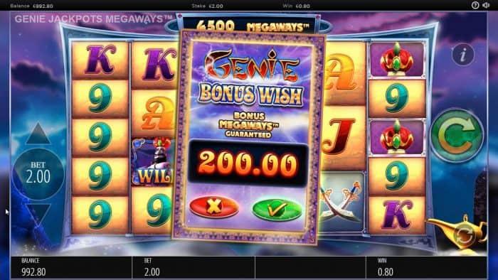 Blueprint - Genie Jackpots - Image showing the Buy a bonus feature bonus wish