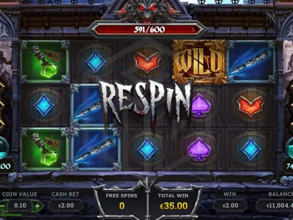 Wolf Hunters from Yggdrasil - Reels during free spin Respin -casinogroundsdotcom