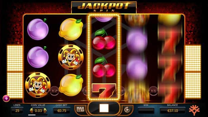 Joker Millions from Yggdrasil Image showing the reels spinning with jackpot mystery spin2