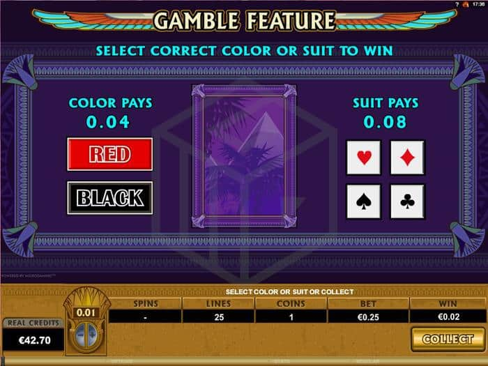 Image showing the gamble feature in Mega Moolah Isis from Microgaming