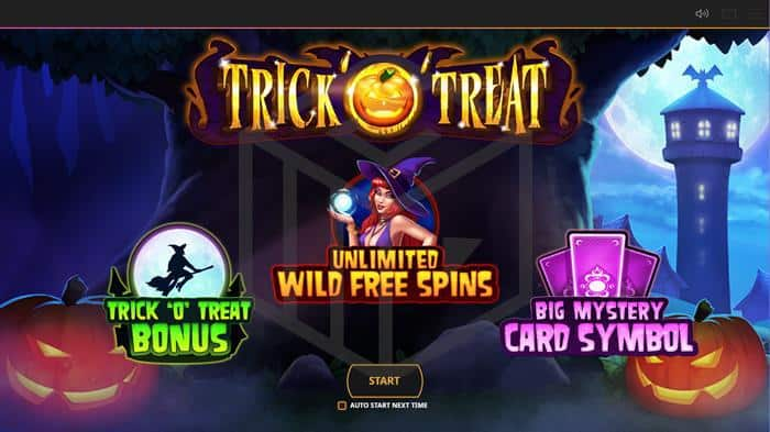 Trick o Treat Welcome Screen showing unlimited wild free spins and random cards