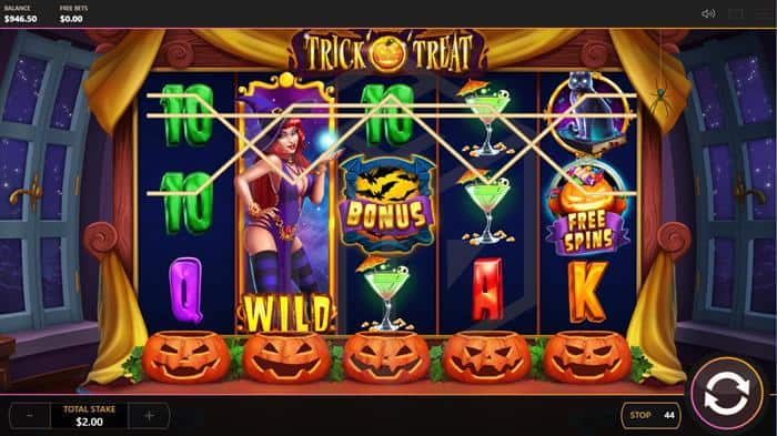 Trick o Treat slot reels with wild bonus and free spin symbols