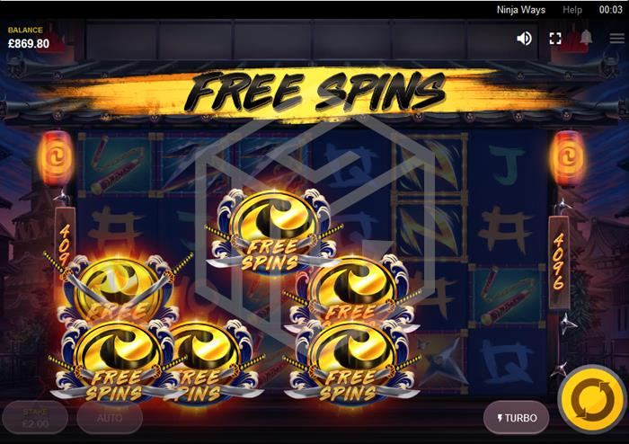 Ninja Ways Slot Feature Trigger Screenshot By Red Tiger Gaming