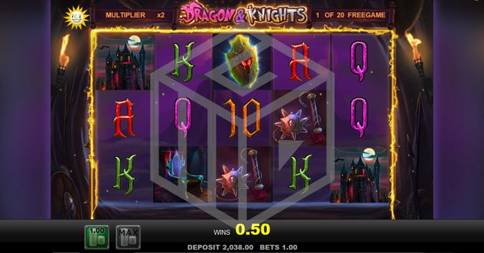 Dragons & Knights Slot Feature Reels Screenshot by Merkur