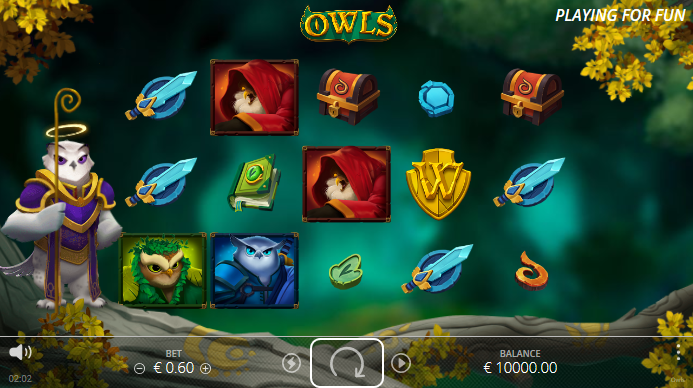 Screenshot of Base Game in Owls Slot by Nolimit City