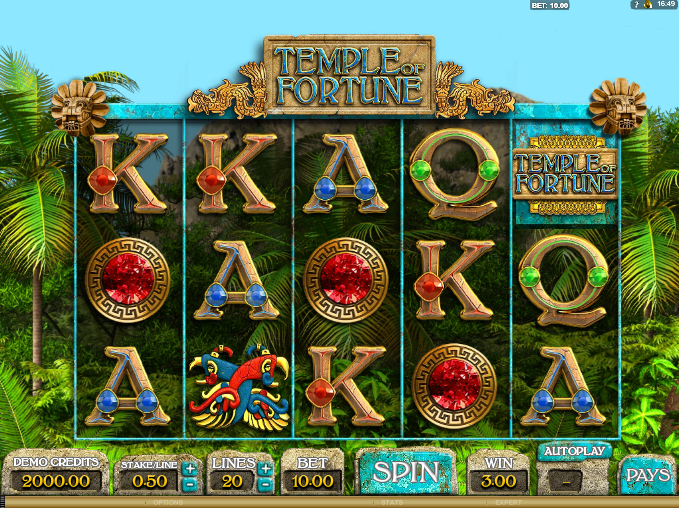 Screenshot of Base Game in Temple of Fortune slot by Big Time Gaming