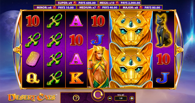 Screenshot of Base Game in Desert Cats slot by WMS Gaming