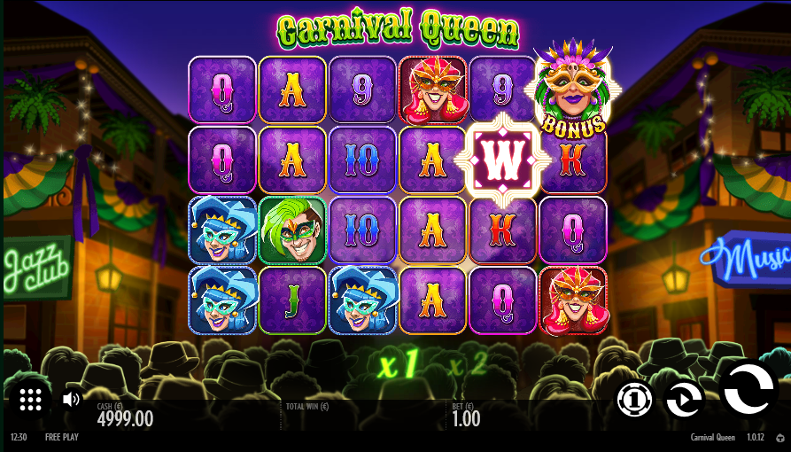 Screenshot of Base Game in Carnival Queen slot by Thunderkick