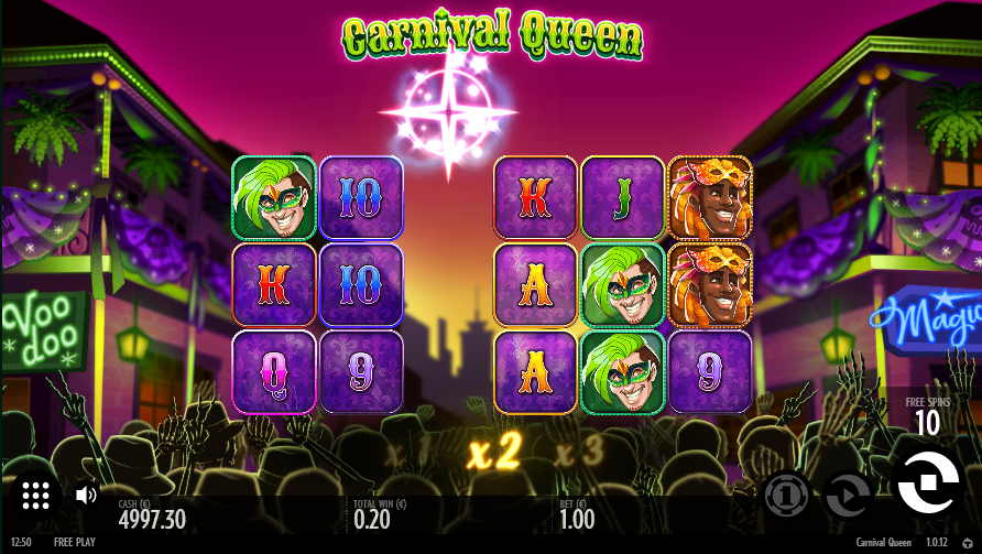 Screenshot of Avalance Feature in Carnival Queen slot by Thunderkick