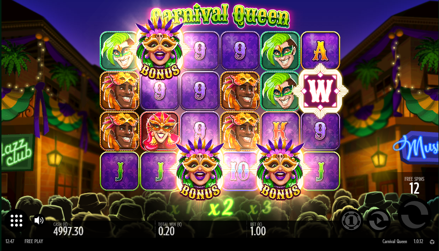 Screenshot of Free Spins Feature in Carnival Queen slot by Thunderkick