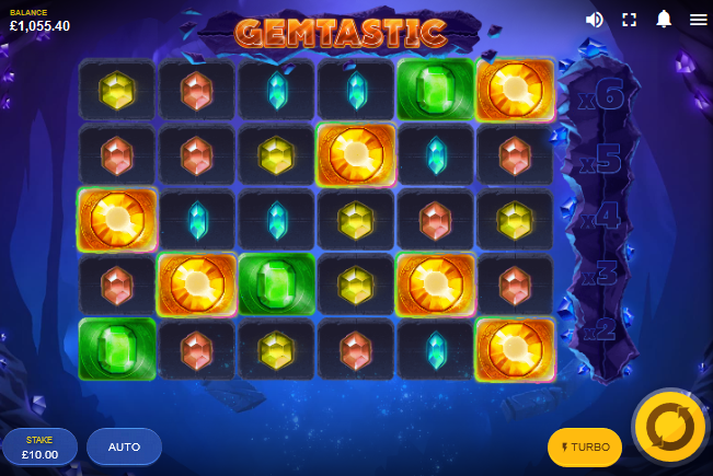 Screenshot of Base Game in Gemstastic slot by Red Tiger Gaming