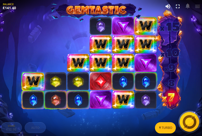 Screenshot of Lava Multiplier feature in Gemstastic slot by Red Tiger Gaming