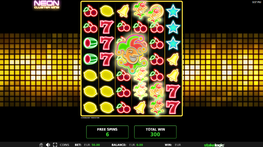 Screenshot of Cluster Swirls feature in Neon Cluster Wins slot by Stakelogic