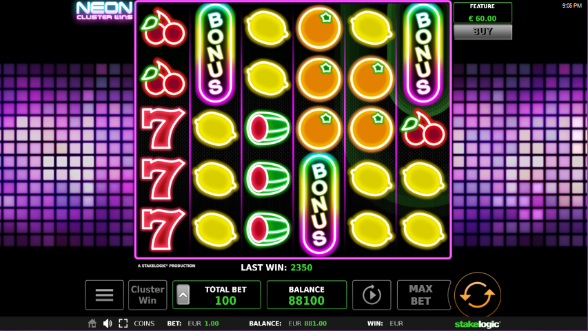Screenshot of Free Spins feature in Neon Cluster Wins slot by Stakelogic
