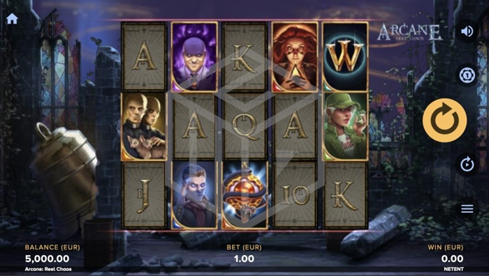 Screenshot of Base Game in Arcane Reel Chaos slot by NetEnt