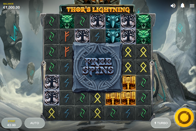 Screenshot of Base Game in Thor's Lightning slot by Red Tiger