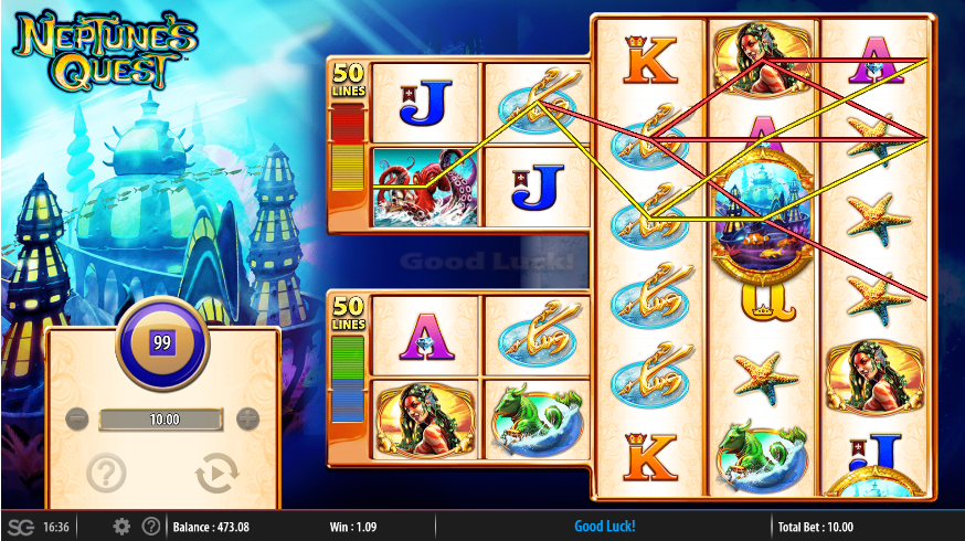 Screenshot of base game in Neptune's Quest by WMS Gaming