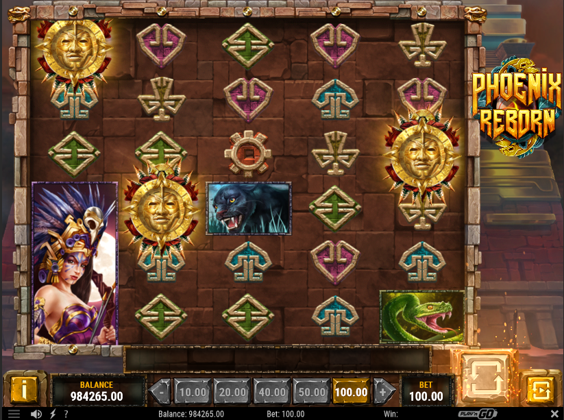 Screenshot of free spins feature in Phoenix Reborn by slot Play'n GO
