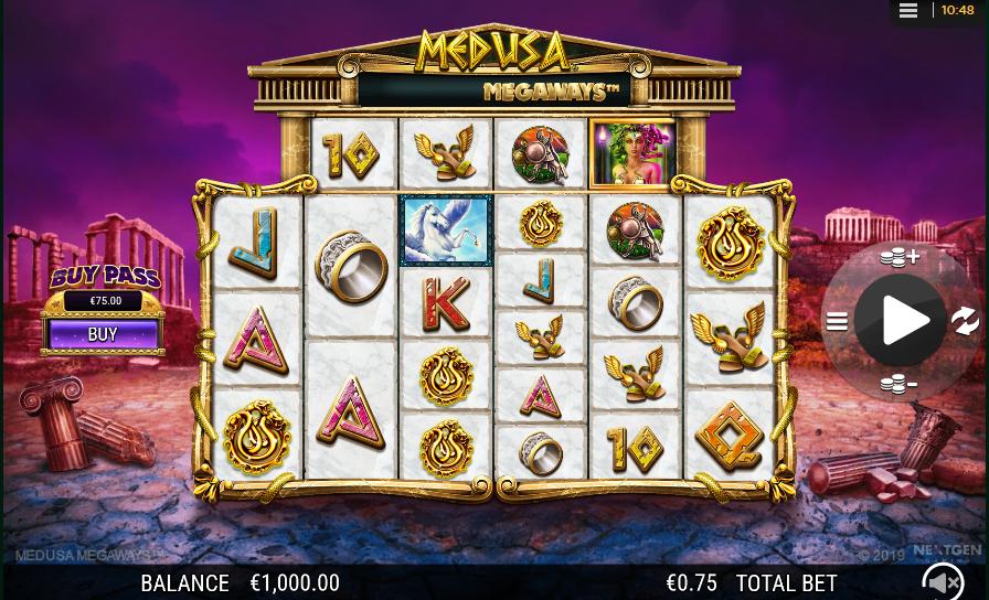 Screenshot of base game in Medusa Megaways slot by NextGen Gaming