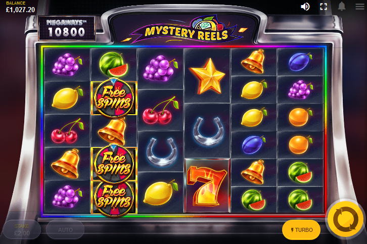 Screenshot of Base Game in Mystery Reels Megaways slot by Red Tiger