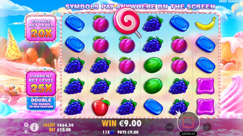 Screenshot of base game in the Sweet Bonanza slot (Pragmatic Play)