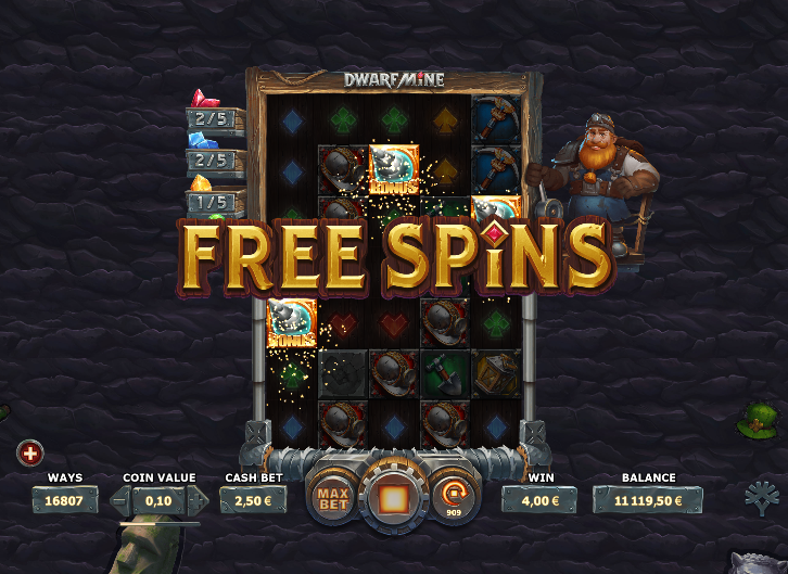 Screenshot of the free spins feature trigger in the Dwarf Mine slot (Yggdrasil Gaming)