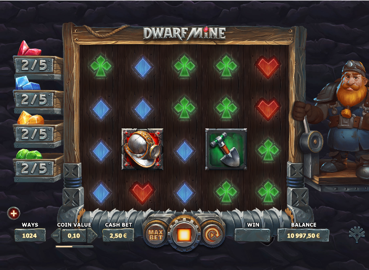 Screenshot of base game in the Dwarf Mine slot (Yggdrasil Gaming)
