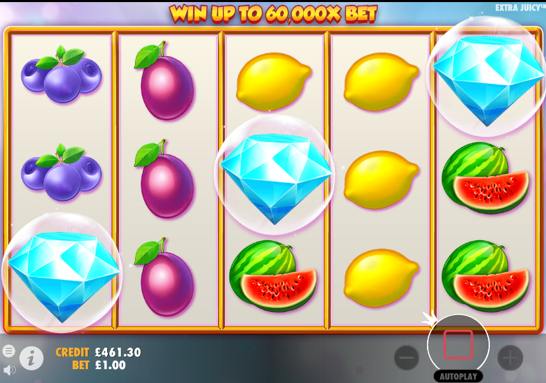Screenshot of the free spins feature trigger in the Extra Juicy slot (Pragmatic Play)