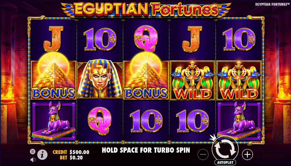 Screenshot of the base game in the Egyptian Fortunes slot (Pragmatic Play)