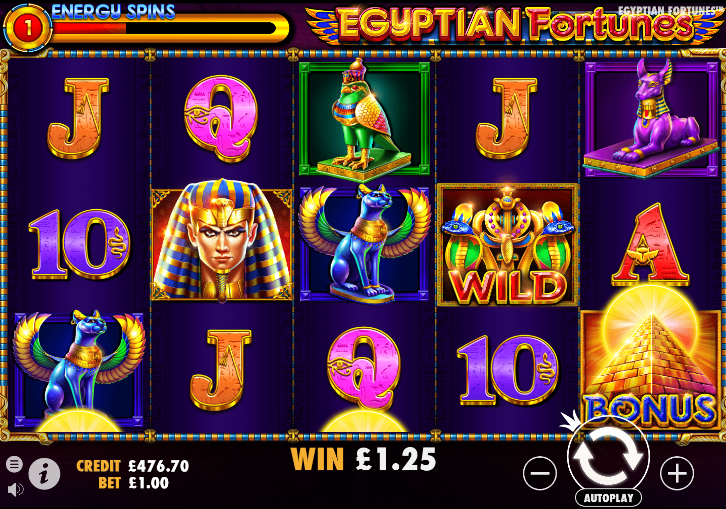 Screenshot of the Energy Spins feature in the Egyptian Fortunes slot (Pragmatic Play)