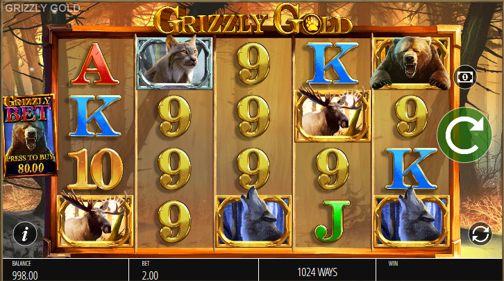 Screenshot of the base game in the Grizzly Gold slot (Blueprint Gaming)